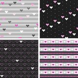 Set of seamless patterns with hearts. For textiles, interior design, for book design, website background Stock Photography