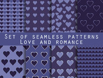 Set of seamless patterns with hearts. Valentine's Day. Cornflowe Stock Photography