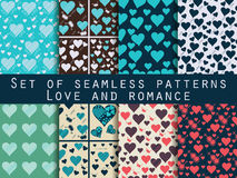 Set of seamless patterns with hearts. Valentine's Day. Love patt Stock Photography