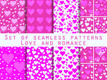 Set of seamless patterns with hearts. Valentine's Day. Love patt. Erns. Abstract backgrounds. Vector Stock Images