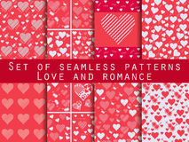Set of seamless patterns with hearts. Valentine`s Day. Love patterns. Red color. Vector. Illustration Royalty Free Stock Images