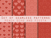 Set of seamless patterns with hearts. Valentine`s Day. Peach echo and fiesta color. Color trend in 2016. Romantic patterns. Vector Royalty Free Stock Image