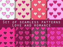 Set of seamless patterns with hearts. Valentine's Day. Romantic patterns. Vector illustration Royalty Free Stock Photography
