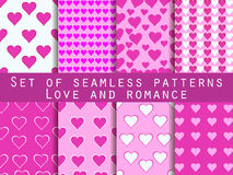 Set of seamless patterns with hearts. Valentine's Day. Romantic Stock Image