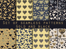 Set of seamless patterns with hearts. Valentines Day. Gold and b. Lack. Vector illustration Royalty Free Stock Photos