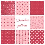 Set of seamless patterns with hearts. Set of vector seamless patterns with hearts Royalty Free Stock Image