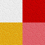 Set of seamless patterns with hearts Royalty Free Stock Image