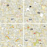Set of seamless patterns with hungry monsters. Stock Photography