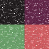 Set of Seamless patterns with I love you text in various languages Stock Photo