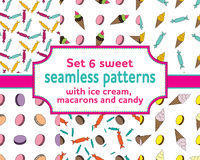 Set seamless patterns with ice cream and candies. Set of seamless patterns with cartoons ice cream, sweety, macarons and candies. Vector illustration.Sweet Royalty Free Stock Image