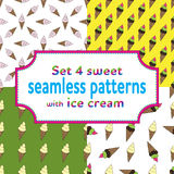 Set seamless patterns with ice cream and candies. Set of seamless patterns with cartoons ice cream and candies. Vector illustration.Sweet design for children Royalty Free Stock Images