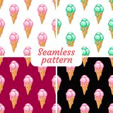 Set. Ice cream with different flavors. Set. Seamless patterns. Ice cream with different flavors. It melts stock illustration
