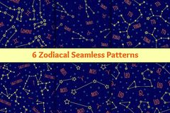 Set of seamless patterns with the image zodiac signs and constellations. Stock Photography