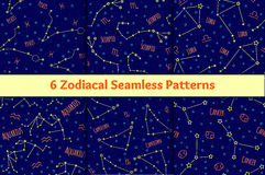 Set of seamless patterns with the image of the zodiac signs and constellations. Stock Photos