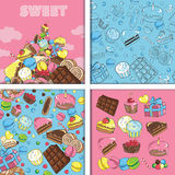 Set of seamless patterns and images of sweets Royalty Free Stock Photos