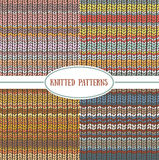 Set of seamless patterns with knitted stripes texture. Stock Photography