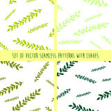 Set of  seamless patterns with leaves and branches. Different shades of green patterns Stock Image