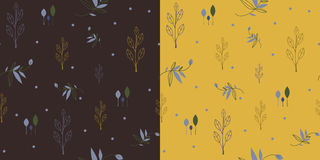 Set of Seamless patterns with leaves and flowers. Set of two seamless pattern in earthy colors with floral theme Stock Photos