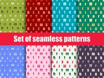 Set of seamless patterns with letters. Merry Christmas. Vector. Illustration Stock Images