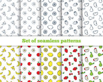 Set of seamless patterns line icons fruit. Banana, apple Stock Images