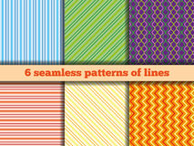 Set of seamless patterns of lines. Set of six fabric samples with a geometrical pattern of lines. Seamless texture. In the illustration used free font ChunkFive Royalty Free Stock Photo