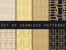 Set seamless patterns with lines and squares. Gold and black color. Vector illustration. Royalty Free Stock Photos