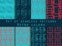 Set seamless patterns with lines and squares. Retro colors, blue, red and dark blue. Royalty Free Stock Photo