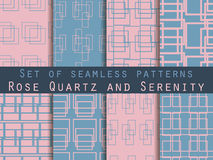 Set seamless patterns with lines and squares. Rose quartz and serenity violet colors. The pattern for wallpaper, bed linen, tiles, fabrics, backgrounds. Vector Royalty Free Stock Photography