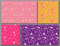 Set of seamless patterns made of art and hobby tools Royalty Free Stock Image