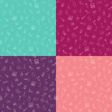 Set of seamless patterns with makeup cosmetics on different color Royalty Free Stock Image