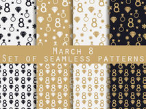Set of seamless patterns on March 8. International Women's Day. Patterns with hearts, rings, flowers and diamonds. For wallpaper, bed linen, tiles, fabrics stock illustration