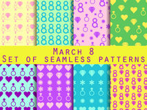 Set of seamless patterns on March 8. International Women's Day. Patterns with hearts, rings, flowers and diamonds. For wallpaper, bed linen, tiles, fabrics Stock Photography