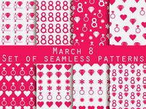 Set of seamless patterns on March 8. International Women's Day. Patterns with hearts, rings, flowers and diamonds. For wallpaper, bed linen, tiles, fabrics Stock Image