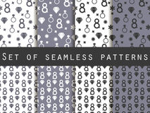 Set of seamless patterns on March 8. International Women's Day. Patterns with hearts, rings, flowers and diamonds. For wallpaper, bed linen, tiles, fabrics royalty free illustration