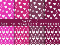 Set of seamless patterns on March 8. International Women`s Day. Patterns with hearts, rings, flowers and diamonds. For wallpaper, bed linen, tiles, fabrics vector illustration