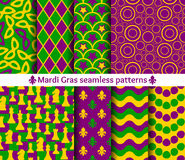 Set of seamless patterns for Mardi Gras. Royalty Free Stock Photo