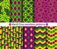 Set of seamless patterns for Mardi Gras. Royalty Free Stock Photo