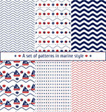 Set of seamless patterns with a maritime theme. Ship and sail, sea shell, sea waves. Marine background. Set of seamless patterns with a maritime theme. Ship and Stock Images