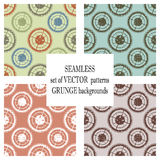 Set of  seamless patterns with mechanism of watch. Creative geometric grunge backgrounds with gear wheel. Texture with crack. S, ambrosia, scratches, attrition Stock Photo