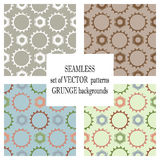 Set of  seamless patterns with mechanism of watch. Creative geometric grunge backgrounds with gear wheel. Texture with crack. S, ambrosia, scratches, attrition Stock Photos