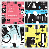Set of seamless patterns in memphis style. Black and white geometric elements on colorful background. Stock Image