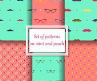 Set of seamless patterns on mint and peach colors stock illustration