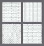 Set of seamless patterns with modern rectangular white tiles. Realistic textures collection. Vector illustration. Royalty Free Stock Photo
