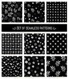 Set of seamless patterns. Monochrome, black and Royalty Free Stock Photography
