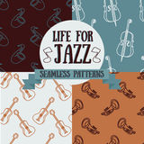 Set of seamless patterns with musical instruments Royalty Free Stock Image