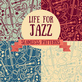 Set of seamless patterns with musical instruments Stock Photography