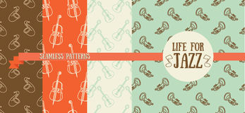 Set of seamless patterns with musical instruments Stock Image