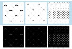Set of 6 seamless patterns with mustache, crown and dots. Little man print party decoration. Wrap a father`s gift. Dark and light classic fabric. Royal design stock illustration