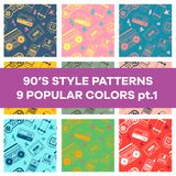 Set of seamless patterns with objects from the 90`s. Can be used in printing, website background and fabric design. EPS 10 vector. Set of seamless patterns with vector illustration