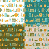 Set of seamless patterns of office stationery icons Royalty Free Stock Photos